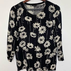 Talbots black cardigans with flowers